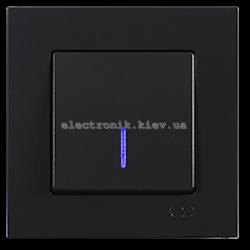 Eqona Выключатель 1-клав. с подсветкой черный