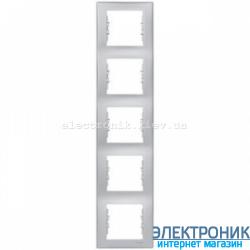Рамка пятиместная Schneider (Шнайдер) Sedna вертикальная Серый SDN5801533