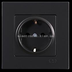 Eqona Розетка 1-я с заземлением черная