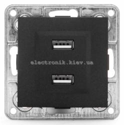 Розетка USB двойная 2*1А, 5V, DC Tesla LXL графитовый металлик