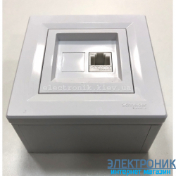 Розетка накладной монтаж Schneider (Шнайдер)c Asfora телефонная RJ11 белая