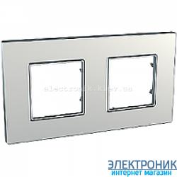 Рамка двухместная Schneider (Шнайдер) Unica Quadro Metallized Серебрянный