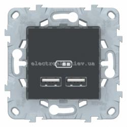 Розетка USB 2-ая (для подзарядки), Графит, серия Unica New