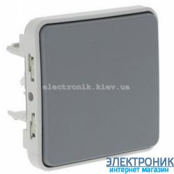 Выключатель кнопочный без фиксации с Н.О. Серый Legrand Plexo ip55