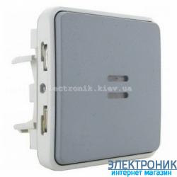 Проходной выключатель с подсветкой Серый 069512 Legrand Plexo ip55