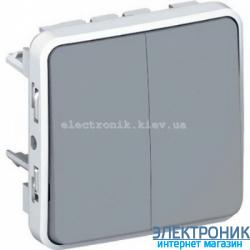 Двухклавишный проходной выключатель Серый Legrand Plexo ip55