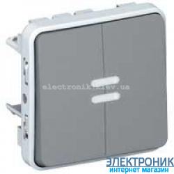 Двухклавишный проходной выключатель с подсветкой Серый Legrand Plexo ip55