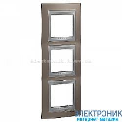 Рамка 3-я вертикальная Schneider Electric Unica Top Оникс медный/Алюминий