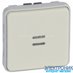 Проходной выключатель с подсветкой Белый Legrand Plexo ip55