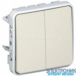 Двухклавишный проходной выключатель Белый Legrand Plexo ip55