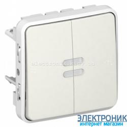 Двухклавишный проходной выключатель с подсветкой Белый Legrand Plexo ip55