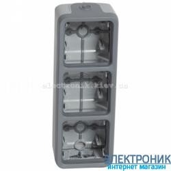 Коробка накладная трех местная вертикальная Серый Legrand Plexo ip55