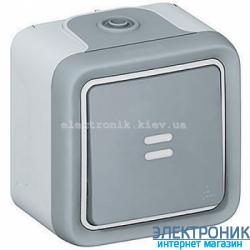 Проходной выключатель с подсветкой Серый Legrand Plexo ip55