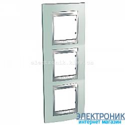 Рамка 3-я вертикальная Schneider Electric Unica Top Изумрудный/Алюминий