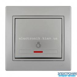 Выключатель проходной с подсветкой LEZARD Mira серый металл (шт.)