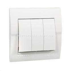 Выключатель трехклавишный LEZARD DERIY белый