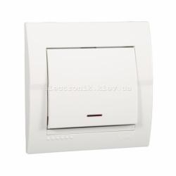Выключатель с подсветкой LEZARD DERIY белый