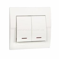 Выключатель двойной с подсветкой LEZARD DERIY белый