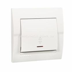 Выключатель проходной с подсветкой LEZARD DERIY белый