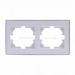 RAIN Рамка 2-ая горизонтальная белая с вставкой хром