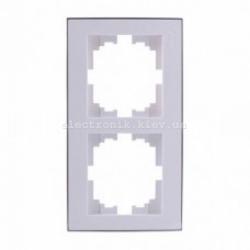 RAIN Рамка 2-ая вертикальная белая с вставкой хром