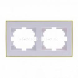 Рамка 2-а горизонтальная с боковой вставкой, белый-золото Lezard RAIN