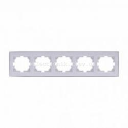 Рамка 5-а горизонтальная с боковой вставкой, белый-хром Lezard RAIN
