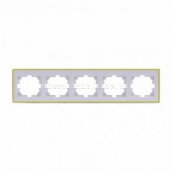 Рамка 5-а горизонтальная с боковой вставкой, белый-золото Lezard RAIN