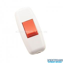 Выключатель навесной белый (красн.клав.) (50шт/уп)