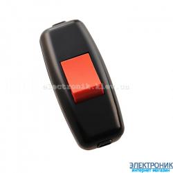 Выключатель навесной черный (красн.клав.) (50шт/уп)