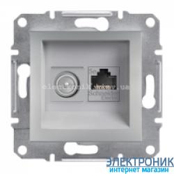 Розетка Schneider-Electric Asfora Plus компьютерная RJ45 кат. 5е + ТВ (телевизионная) алюминий