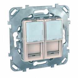 Schneider (Шнайдер) Unica слоновая кость компьютерная розетка 2хRJ45 кат. 5е