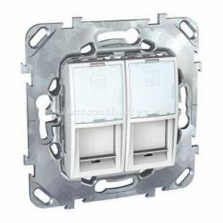 Schneider (Шнайдер) Unica белая компьютерная розетка 2хRJ45 кат. 5e