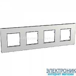 Рамка четырехместная Schneider (Шнайдер) Unica Quadro Metallized Серебрянный