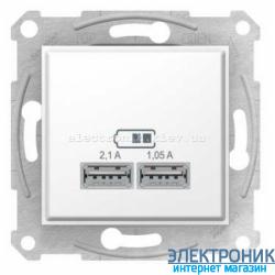 Розетка Schneider(Шнайдер) Sedna с USB выходами для зарядки , цвет белый
