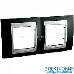 Рамка 2-я горизонтальная Schneider Electric Unica Top Черный родий/Алюминий