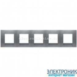 Рамка 5 пост ABВ Zenit серебро