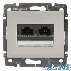 Розетка телеф и интернет RJ11,RJ45 UTP кат. 6  Legrand Galea Life цвет серебро
