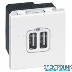 Механізм розетки USB подвійна 5В-750мА., Mosaic