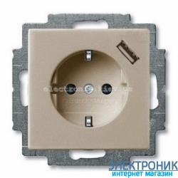 Розетка SCHUKO з/ш с устройством зарядным USB 16А 700 мА защ.от перегр.ABB Basic 55 шампань