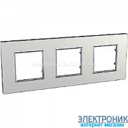Рамка трехместная Schneider (Шнайдер) Unica Quadro Metallized Серебрянный
