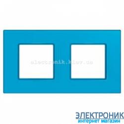 """Рамка двухместная Schneider (Шнайдер) Unica Quadro """"Natura"""" Aqua"""