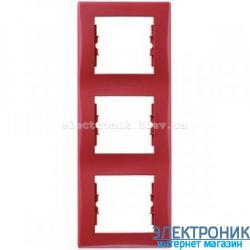 Рамка Schneider-Electric Sedna 3-поста вертикальная красный