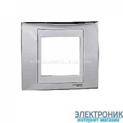 Рамка 1-я Schneider Electric Unica Top Блестящий хром/Белый