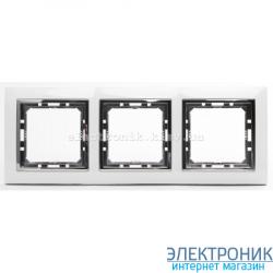 Рамка 3-ая Tesla LXL белый/хром