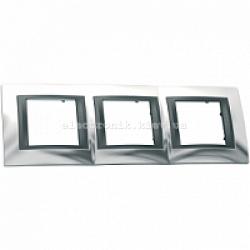 Рамка 3-я горизонтальная Schneider Electric Unica Top Блестящий хром/Графит