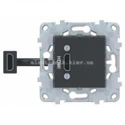 Розетка HDMI, Графит, серия Unica New