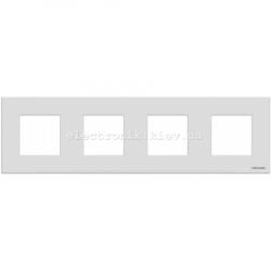 Рамка четверная ABВ Zenit белое стекло