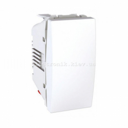 Переключатель проходной 1-кл Unica 1 модуль белый