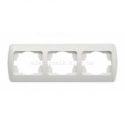 Рамка 3-кратная горизонтальная, белая,белые вставки EL-BI Zirve Fixline